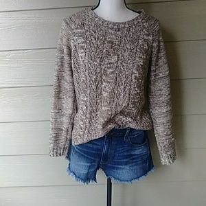 Sonoma Brown chunky cableknit sweater